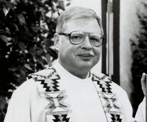 (The Albuquerque Journal via AP, File). FILE - This 1989 file photo shows Father Arthur Perrault in Albuquerque, N.M. The former Roman Catholic priest found guilty of aggravated sexual abuse in New Mexico is scheduled to be sentenced Friday, Sept. 13, ...