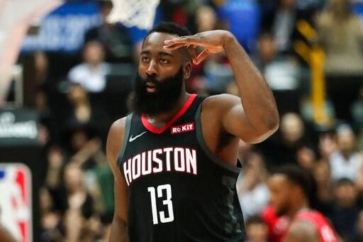 (AP Photo/Jae C. Hong). Houston Rockets' James Harden celebrates his three-point basket during the first half of an NBA preseason basketball game against the Toronto Raptors Tuesday, Oct. 8, 2019, in Saitama, near Tokyo.