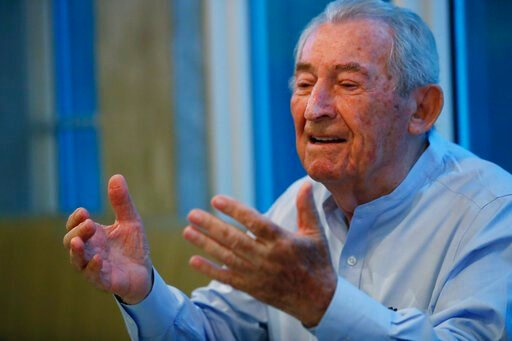 (AP Photo/Wilfredo Lee). In this, Monday, Oct. 7, 2019 photo, David Schaecter, president of the Holocaust Survivors Foundation USA (HSF), gestures as he speaks during an interview with The Associated Press in Aventura, Fla. Aging Holocaust survivors ar...