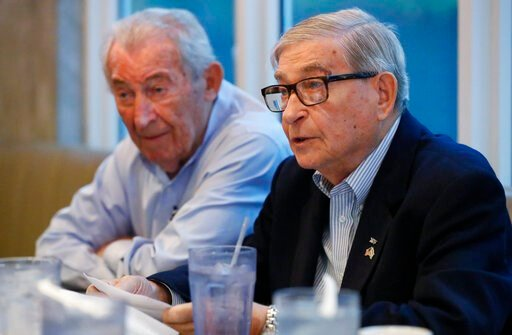 (AP Photo/Wilfredo Lee). In this, Monday, Oct. 7, 2019 photo, David Mermelstein, right, President of Miami-Dade Holocaust Survivors (and Vice President of the Holocaust Survivors Foundation USA (HSF), speaks during an interview with The Associated Pres...
