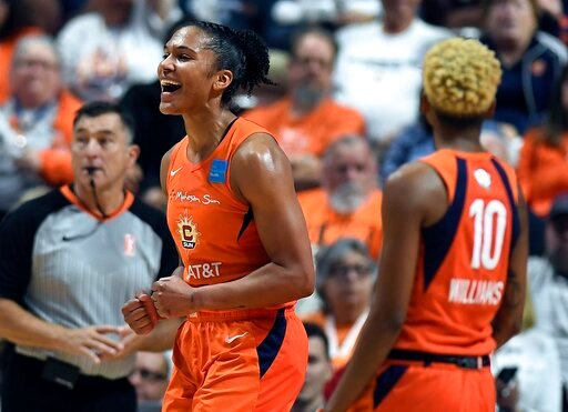 (AP Photo/Jessica Hill). Connecticut Sun's Alyssa Thomas reacts to a play during the first half in Game 4 of basketball's WNBA Finals against the Washington Mystics, Tuesday, Oct. 8, 2019, in Uncasville, Conn.