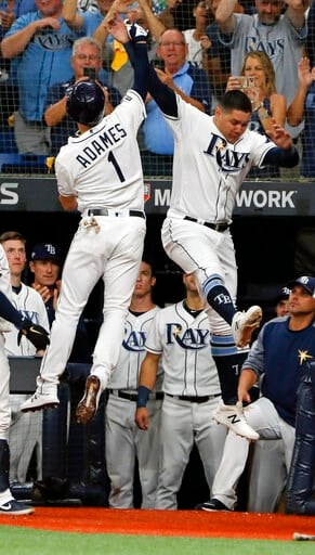 (AP Photo/Scott Audette). Tampa Bay Rays' Willy Adames (1) celebrates his solo home run against the Houston Astros with right fielder Avisail Garcia, right, in the fourth inning of Game 4 of a baseball American League Division Series, Tuesday, Oct. 8, ...