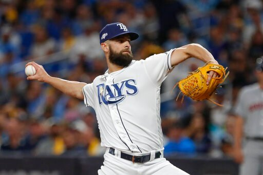 (AP Photo/Scott Audette). Tampa Bay Rays' Nick Anderson pitches against the Houston Astros in the fifth inning of Game 4 of a baseball American League Division Series, Tuesday, Oct. 8, 2019, in St. Petersburg, Fla.