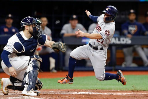 (AP Photo/Chris O'Meara). Houston Astros' Jose Altuve, right, heads for home, but is tagged out by Tampa Bay Rays catcher Travis d'Arnaud during the fourth inning of Game 4 of a baseball American League Division Series, Tuesday, Oct. 8, 2019, in St. Pe...