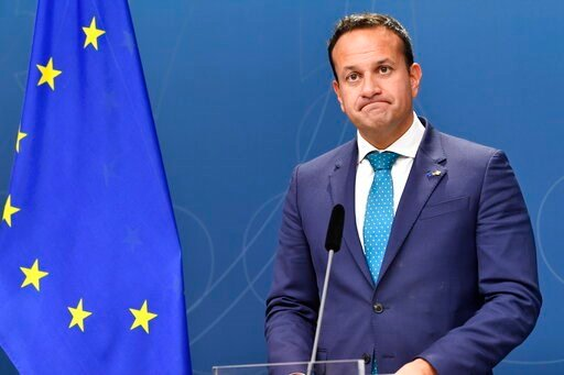 (Henrik Montgomery/TT News Agency via AP). Irish Prime Minister Leo Varadkar grimaces during a press conference with Swedish Prime Minister Stefan Lofven in Stockholm, Thursday, Oct. 3, 2019.