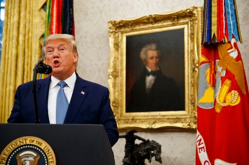 (AP Photo/Alex Brandon). President Donald Trump speaks during a ceremony to present the Presidential Medal of Freedom to former Attorney General Edwin Meese, in the Oval Office of the White House, Tuesday, Oct. 8, 2019, in Washington.