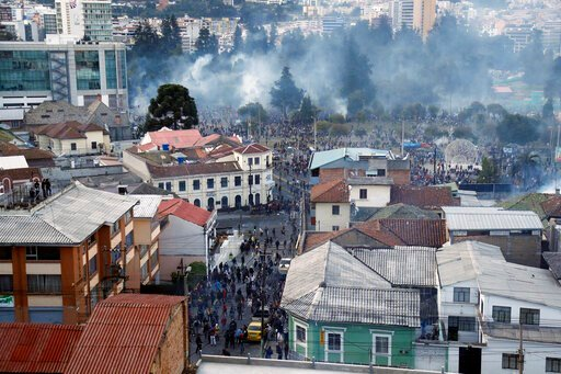 (AP Photo/Dolores Ochoa). The neighborhood El Arbolito is full of teargas fired by police during protests against the government in Quito, Ecuador, Tuesday, Oct. 8, 2019. Anti-government protests, which began when President Lenin Moreno's decision to c...