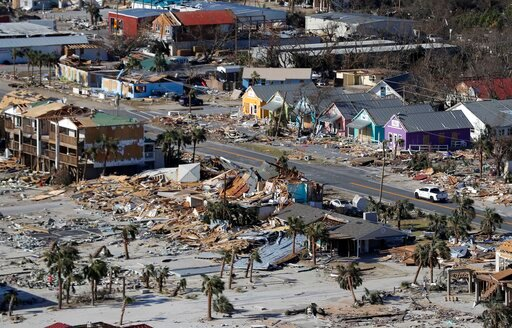 (AP Photo/Gerald Herbert, File). FILE - In this Oct. 12, 2018 file photo debris from homes destroyed by Hurricane Michael litters the ground in Mexico Beach, Fla. A year after Hurricane Michael, Bay County, Florida, is still in crisis. Thousands are ho...