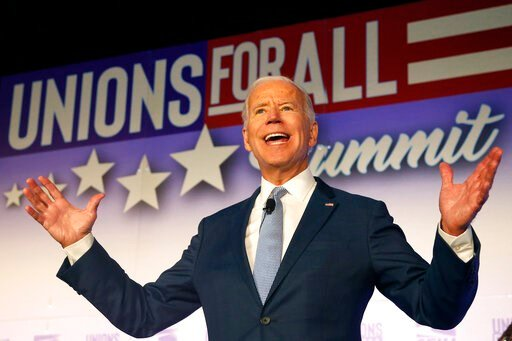(AP Photo/Ringo H.W. Chiu). Former Vice President and Democratic presidential candidate Joe Biden speaks at the  SEIU Unions For All Summit on Friday, Oct. 4, 2019, in Los Angeles.