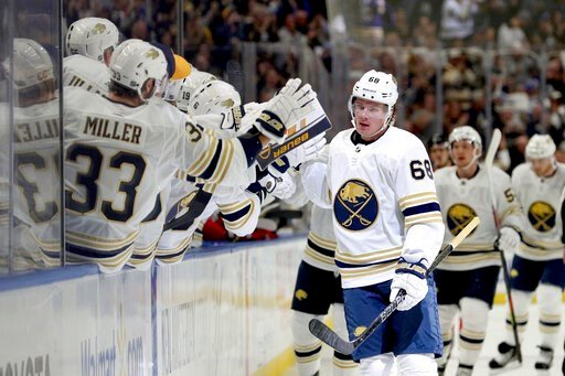 (AP Photo/Bryan Bennett). Buffalo Sabres left wing Victor Olofsson (68) celebrates after scoring a goal during the first period of an NHL hockey game against the New Jersey Devils, Saturday, Oct. 5, 2019, in Buffalo, N.Y.