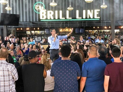 (AP Photo/Jonathan Cooper). Democratic presidential candidate Beto O'Rourke takes his calls for tough gun laws and inclusive immigration policies to Phoenix, Ariz., Sunday, Oct. 6, 2019. O'Rourke on Sunday laid out a progressive vision of a country tha...