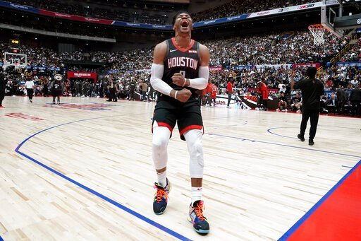 (AP Photo/Jae C. Hong). Houston Rockets' Russell Westbrook screams before the start of the team's NBA preseason basketball game against the Toronto Raptors Thursday, Oct. 10, 2019, in Saitama, near Tokyo.