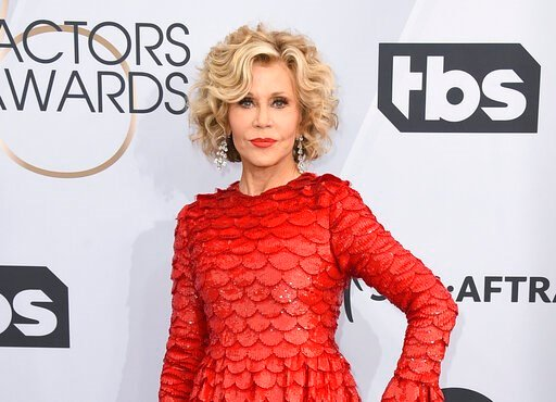(Photo by Jordan Strauss/Invision/AP, File). FILE - This Jan. 27, 2019 file photo shows Jane Fonda at the 25th annual Screen Actors Guild Awards in Los Angeles. Fonda was arrested at the U.S. Capitol on Friday, Oct. 11, while peacefully protesting clim...