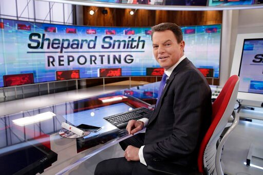 "(AP Photo/Richard Drew, File). FILE - In this Jan. 30, 2017, file photo, Fox News Channel chief news anchor Shepard Smith appears on the set of ""Shepard Smith Reporting"" in New York. Smith, whose newscast on Fox News Channel seemed increasingly an outl..."