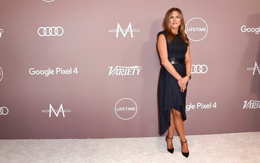 (Photo by Jordan Strauss/Invision/AP). Jennifer Aniston arrives at Variety's Power of Women on Friday, Oct. 11, 2019, at the Beverly Wilshire hotel in Beverly Hills, Calif.