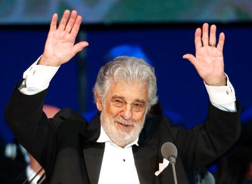 (AP Photo/Laszlo Balogh, File). FILE - In this Aug. 28, 2019, file photo, Opera star Placido Domingo performs during a concert in Szeged, Hungary. The 78-year-old singer who rose to stardom as a tenor has been confirmed to sing the baritone title role ...