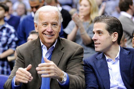 (AP Photo/Nick Wass, File). FILE - In this Jan. 30, 2010, file photo, Vice President Joe Biden, left, with his son Hunter, right, at the Duke Georgetown NCAA college basketball game in Washington.  Since the early days of the United States, leading pol...
