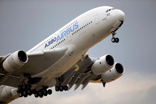 (AP Photo/Francois Mori, File). FILE - In this June 18, 2015 filephoto, an Airbus A380 takes off for its demonstration flight at the Paris Air Show, in Le Bourget airport, north of Paris. The World Trade Organization says the United States can impose t...