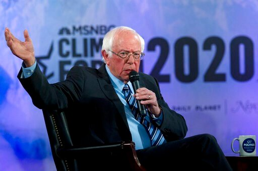 (AP Photo/Jose Luis Magana). FILE - In this Sept. 19, 2019 file photo, Democratic presidential candidate Sen. Bernie Sanders, I-Vt., speaks during the Climate Forum at Georgetown University in Washington.  Bernie Sanders and Elizabeth Warren raked in m...
