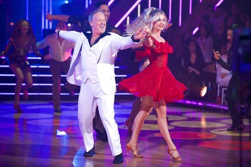 "(Eric McCandless/ABC via AP). This Sept. 30, 2019 photo released by ABC shows former White House press secretary, Sean Spicer, left, and Lindsay Arnold during the celebrity dance competition series ""Dancing With the Stars,"" in Los Angeles. President Do..."