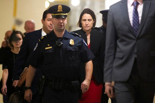 (AP Photo/Manuel Balce Ceneta). Former White House advisor on Russia, Fiona Hill, leaves Capitol Hill in Washington, Monday, Oct. 14, 2019, after testifying before congressional lawmakers as part of the House impeachment inquiry into President Donald T...