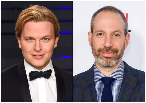 "(AP Photo). This combination photo shows Pulitzer Prize-winning writer Ronan Farrow at the Vanity Fair Oscar Party in Beverly Hills, Calif. on Feb. 24, 2019, left, and NBC News President Noah Oppenheim at the 2016 AFI Festival ""Jackie"" Centerpiece Gala..."
