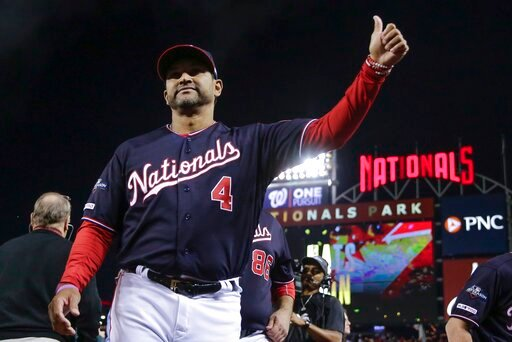 (AP Photo/Jeff Roberson). Washington Nationals manager Dave Martinez gives a thumbs up after Game 3 of the baseball National League Championship Series against the St. Louis Cardinals Monday, Oct. 14, 2019, in Washington. The Nationals won 8-1 to take ...