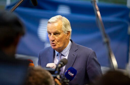 (AP Photo/Virginia Mayo). European Union chief Brexit negotiator Michel Barnier speaks with the media as he arrives for a meeting of EU General Affairs ministers, Article 50, at the European Convention Center in Luxembourg, Tuesday, Oct. 15, 2019. Euro...