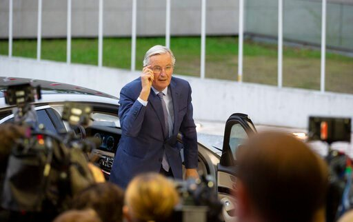 (AP Photo/Virginia Mayo). European Union chief Brexit negotiator Michel Barnier arrives for a meeting of EU General Affairs ministers, Article 50, at the European Convention Center in Luxembourg, Tuesday, Oct. 15, 2019. European Union chief Brexit nego...