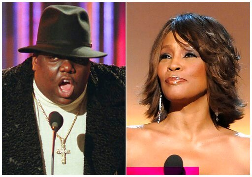 (AP Photo). This combination photo shows Notorious B.I.G., who won rap artist and rap single of the year, during the annual Billboard Music Awards in New York on  Dec. 6, 1995, left, and singer Whitney Houston at the BET Honors in Washington on Jan. 17...