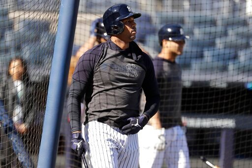 (AP Photo/Frank Franklin II). New York Yankees' Aaron Hicks takes batting practice at Yankee Stadium Thursday, Oct. 10, 2019, New York. The Yankees will play the winner of tonight's Tampa Bay Rays at Houston Astros American League Division Series game ...