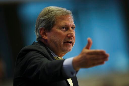 (AP Photo/Francisco Seco). European Commissioner designate for Budget and Administration Johannes Hahn answers questions during his hearing at the European Parliament in Brussels, Thursday, Oct. 3, 2019.