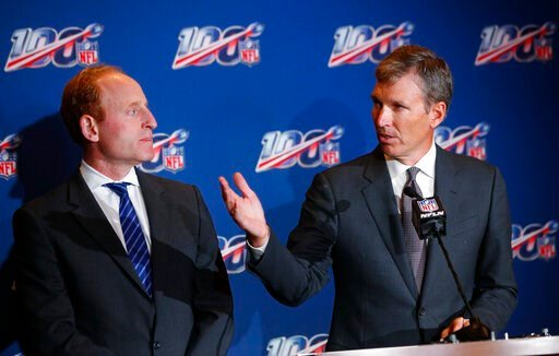 (AP Photo/Wilfredo Lee). Dr. Allen Sills, right, the NFL's chief medical officer, speaks as Jeff Miller, the league's executive vice president of health and safety initiatives, looks on during a news conference at the NFL Fall League Meeting, Tuesday, ...