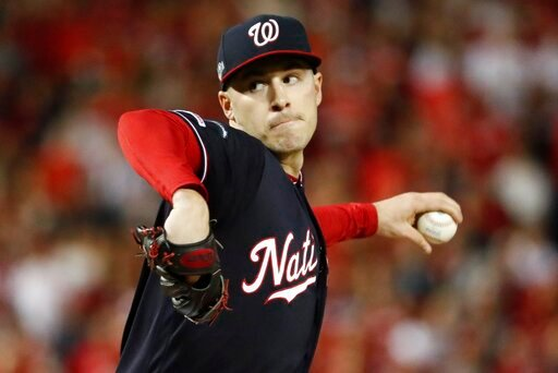 (AP Photo/Jeff Roberson). Washington Nationals' Patrick Corbin throws during the first inning of Game 4 of the baseball National League Championship Series against the St. Louis Cardinals Tuesday, Oct. 15, 2019, in Washington.