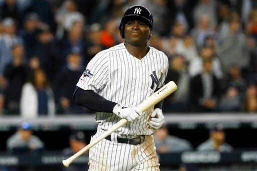 (AP Photo/Matt Slocum). New York Yankees' Didi Gregorius reacts after flying out with two runners on baser to end the fifth inning in Game 3 of baseball's American League Championship Series against the Houston Astros Tuesday, Oct. 15, 2019, in New York.