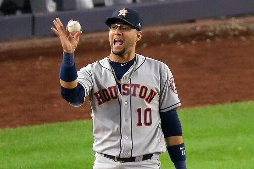 (AP Photo/Seth Wenig). Houston Astros first baseman Yuli Gurriel (10) reacts after making the play at first for the third out to end Game 3 of baseball's American League Championship Series against the New York Yankees, Tuesday, Oct. 15, 2019, in New Y...