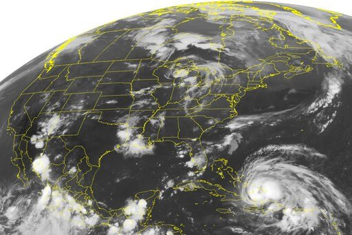 (Weather Underground via AP). FILE - This Wednesday, Aug. 24, 2011 NOAA satellite image shows Hurricane Irene, a category 2 storm with winds up to 100 mph and located about 400 miles southeast of Nassau. According to a study published Monday, Oct. 14, ...
