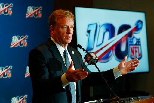 (AP Photo/Wilfredo Lee). NFL Commissioner Roger Goodell speaks at a news conference after the NFL Fall league meeting, Wednesday, Oct. 16, 2019, in Fort Lauderdale, Fla.
