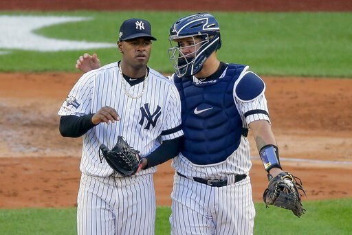 (AP Photo/Seth Wenig). New York Yankees catcher Gary Sanchez talks on the mound with starting pitcher Luis Severino (40) during the fourth inning of Game 3 of baseball's American League Championship Series against the Houston Astros, Tuesday, Oct. 15, ...