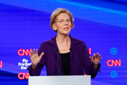 (AP Photo/John Minchillo). Democratic presidential candidate Sen. Elizabeth Warren, D-Mass., speaks during a Democratic presidential primary debate hosted by CNN and The New York Times at Otterbein University, Tuesday, Oct. 15, 2019, in Westerville, Oh...