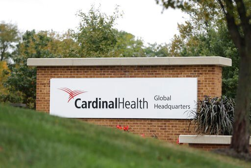 (AP Photo/Darron Cummings). A sign is displayed at the Cardinal Health, Inc. corporate office Wednesday, Oct. 16, 2019, in Dublin, Ohio. Shares of big drug distributors soared Wednesday on word of a potential settlement ahead of the first federal trial...