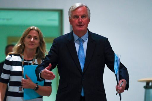 (AP Photo/Francisco Seco). European Union chief Brexit negotiator Michel Barnier arrives to a Brexit Steering Group meeting at the European Parliament in Brussels, Wednesday, Oct. 16, 2019.