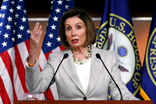 (AP Photo/Pablo Martinez Monsivais). House Speaker Nancy Pelosi of Calif., gestures while speakings during a news conference on Capitol Hill in Washington, Thursday, Oct. 17, 2019.