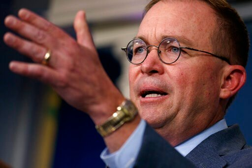 (AP Photo/Evan Vucci). White House chief of staff Mick Mulvaney announces that the G7 will be held at Trump National Doral, Thursday, Oct. 17, 2019, in Washington.