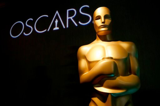(Photo by Danny Moloshok/Invision/AP, File). FILE - In this Feb. 4, 2019 file photo, an Oscar statue appears at the 91st Academy Awards Nominees Luncheon in Beverly Hills, Calif. An animated film about Grendel, a drama about a transgender woman and a d...