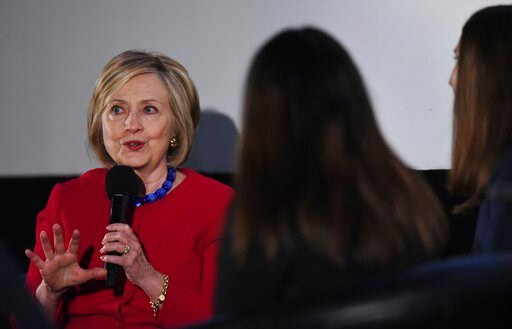 (Joe Lewnard/Daily Herald via AP). Former Secretary of State Hillary Clinton answers a question posed by student journalists during the Trailblazing Women of Park Ridge event in Park Ridge, Ill., Friday, Oct. 11, 2019.