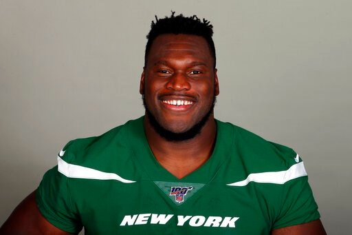(AP Photo/File). FILE - This is a 2019, file photo, shows Kelechi Osemele of the New York Jets NFL football team. Osemele says he needs season-ending shoulder surgery and is waiting for the team to authorize the procedure. Osemele said Friday, OCt. 18,...