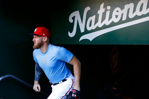 (AP Photo/Patrick Semansky). Washington Nationals pitcher Stephen Strasburg walks out of the clubhouse to participate in a baseball workout, Friday, Oct. 18, 2019, in Washington, in advance of the team's appearance in the World Series.