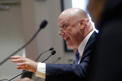 (AP Photo/Jeff Chiu). Pacific Gas and Electric Company (PG&E) President and CEO Andy Vesey speaks during a California Public Utilities Commission meeting in San Francisco, Friday, Oct. 18, 2019.