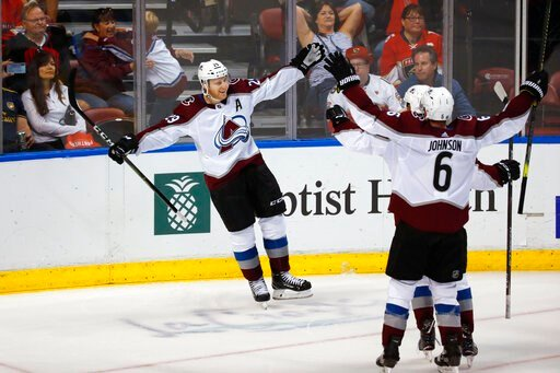 (AP Photo/Wilfredo Lee). Colorado Avalanche center Nathan MacKinnon (29) celebrates with teammates after he scored in overtime of the team's NHL hockey game against the Florida Panthers, Friday, Oct. 18, 2019 in Sunrise, Fla. The Avalanche won 5-4.